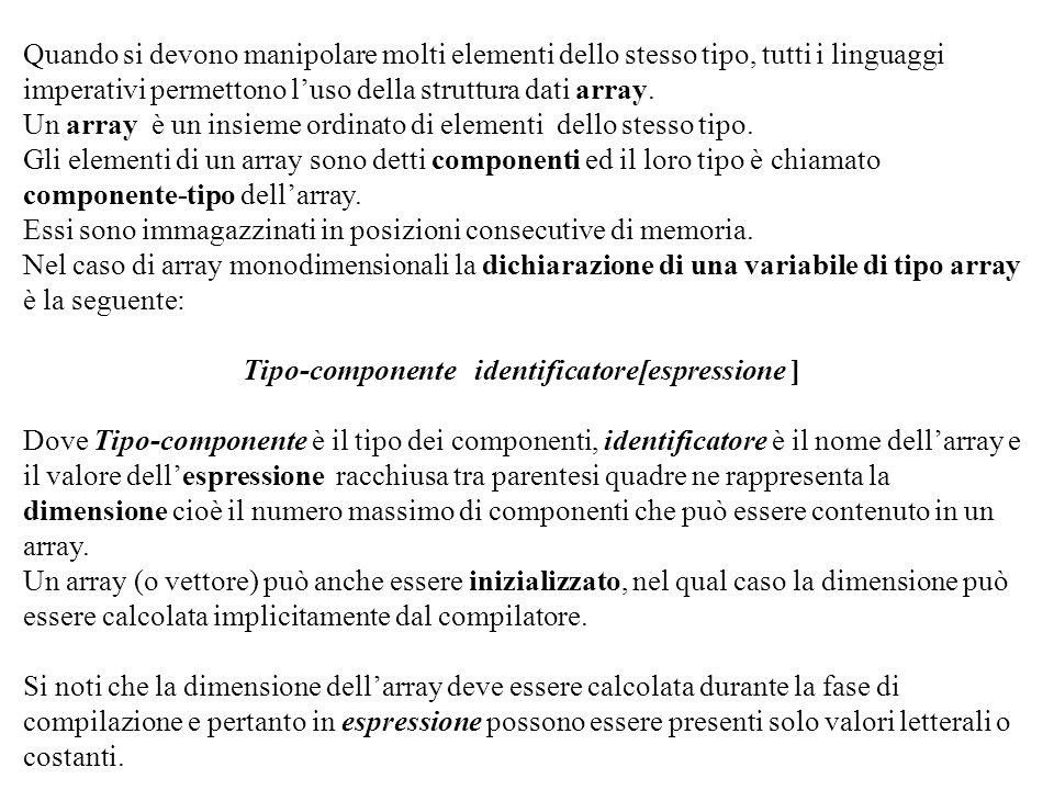 Tipo-componente identificatore[espressione ]